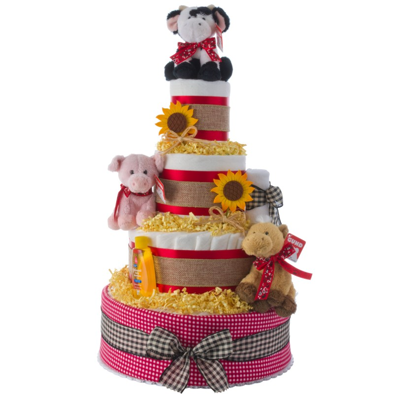 Lil Barnyard Farm Theme 4 Tier Diaper Cake