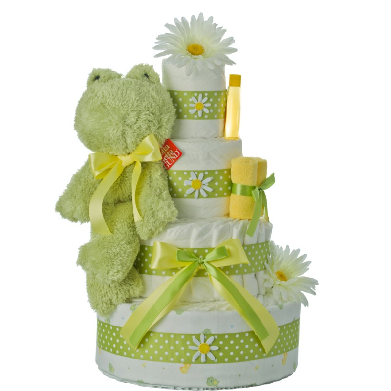 Lil' Fuzzy Frog 4 Tier Diaper Cake