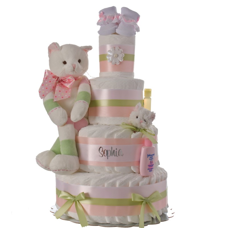 Lil' Kitty Cat 4 Tier Personalized Diaper Cake