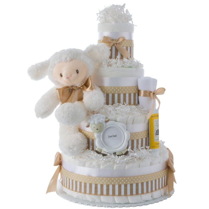 Luvable Lamb Neutral Diaper Cake