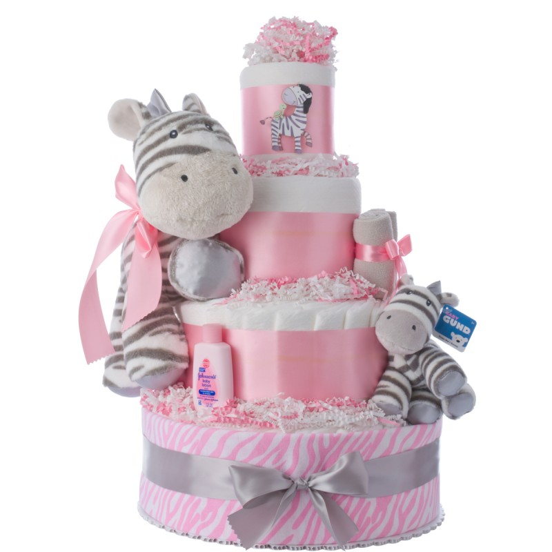 My Zebra Friends Diaper Cakes for Girls