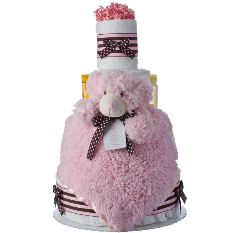 Lil' PInk Bear Baby Diaper Cake