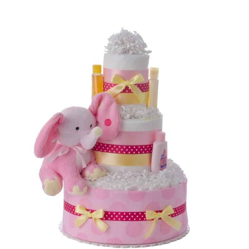 Lil' Pink Elephant 3 Tier Diaper Cake