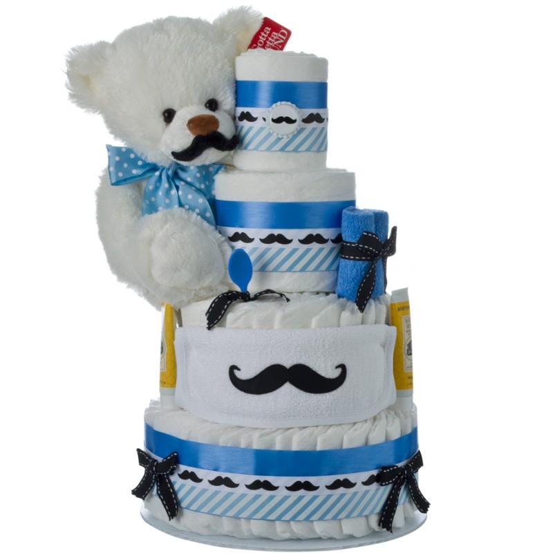 Lil' Man Mustache Diaper Cake