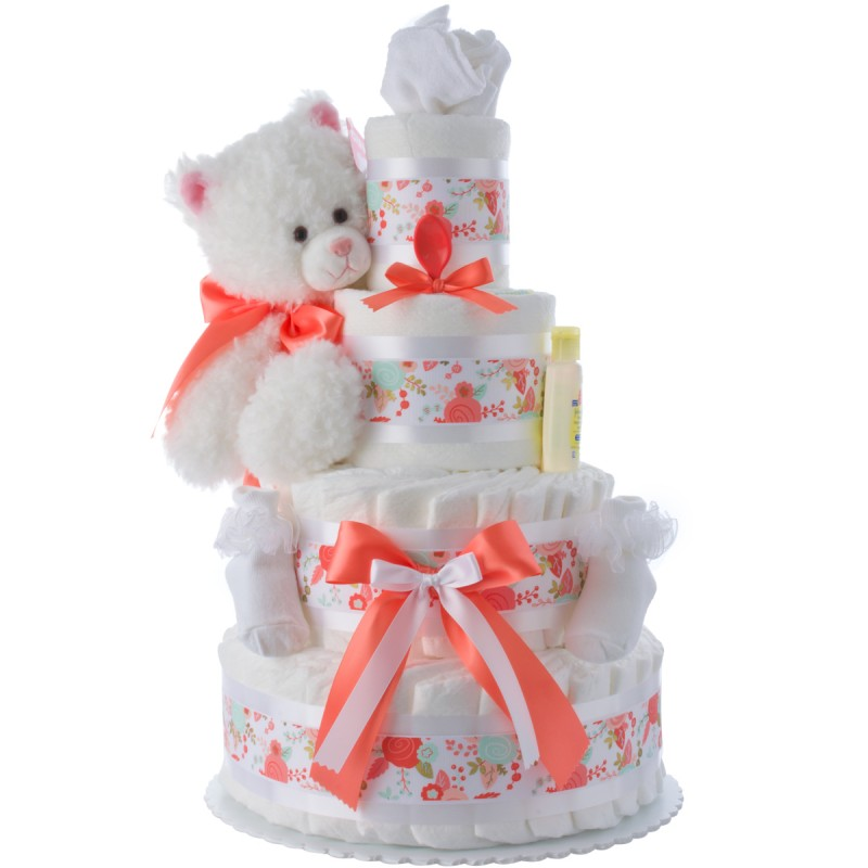 Mimi Kitty Cat Diaper Cake for Girls
