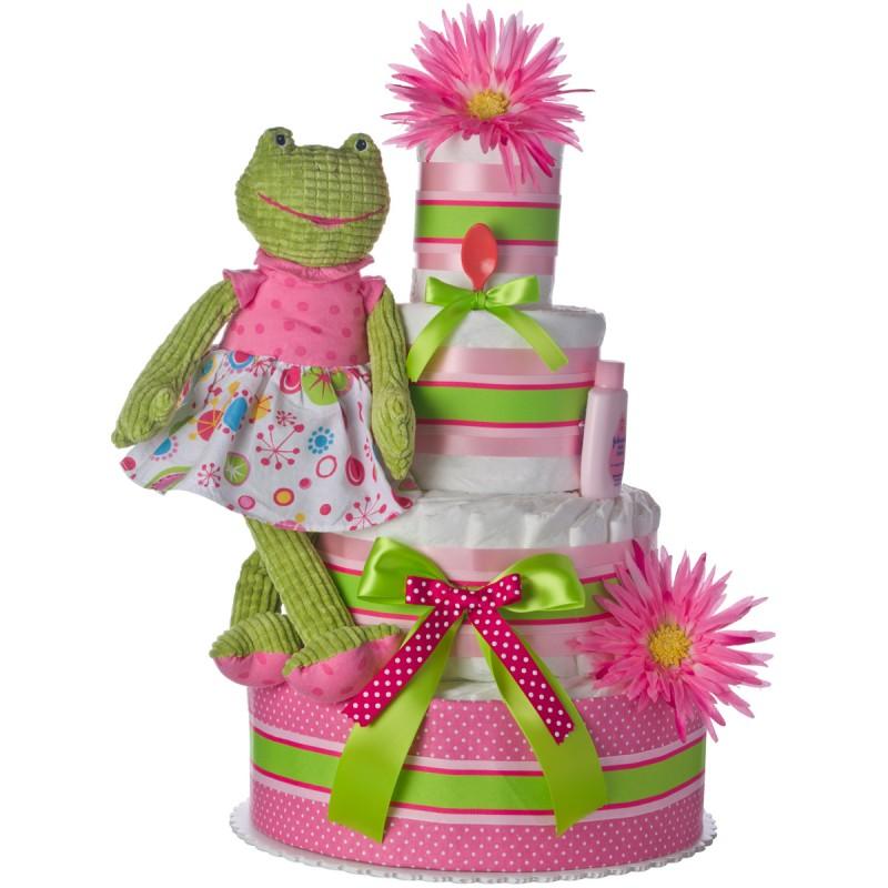 Pink Frog 4 Tier Diaper Cake