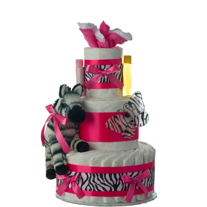 Pink Zebra 3 Tier Diaper Cake