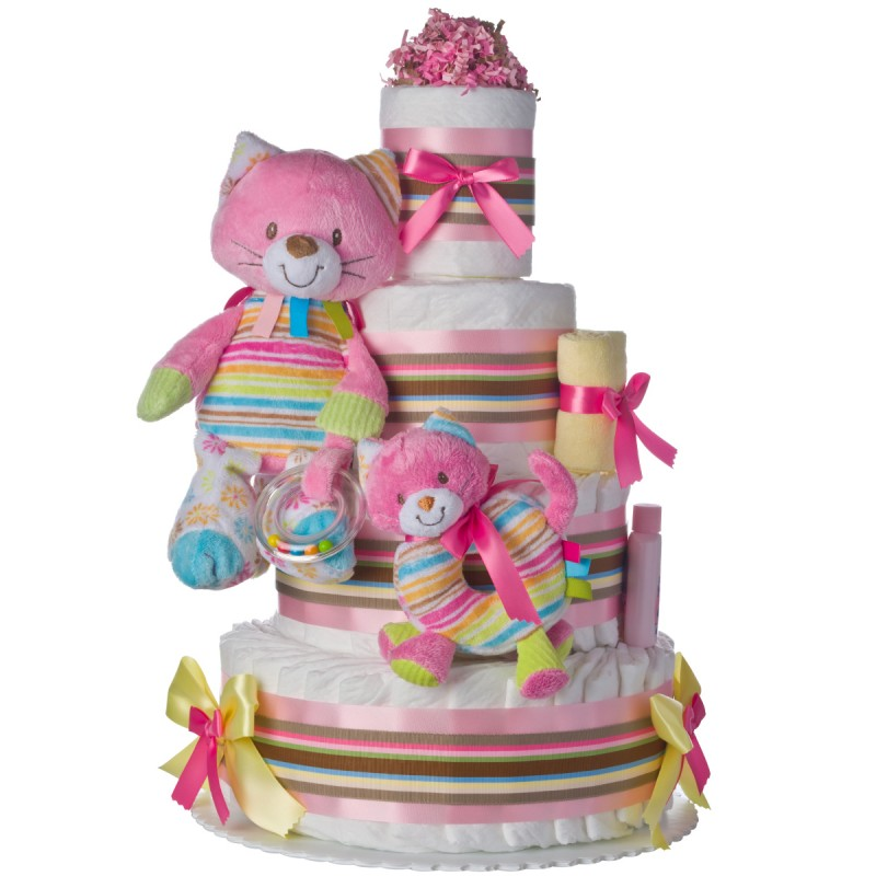 Rainbow Kitty Cat 4 Tier Diaper Cake