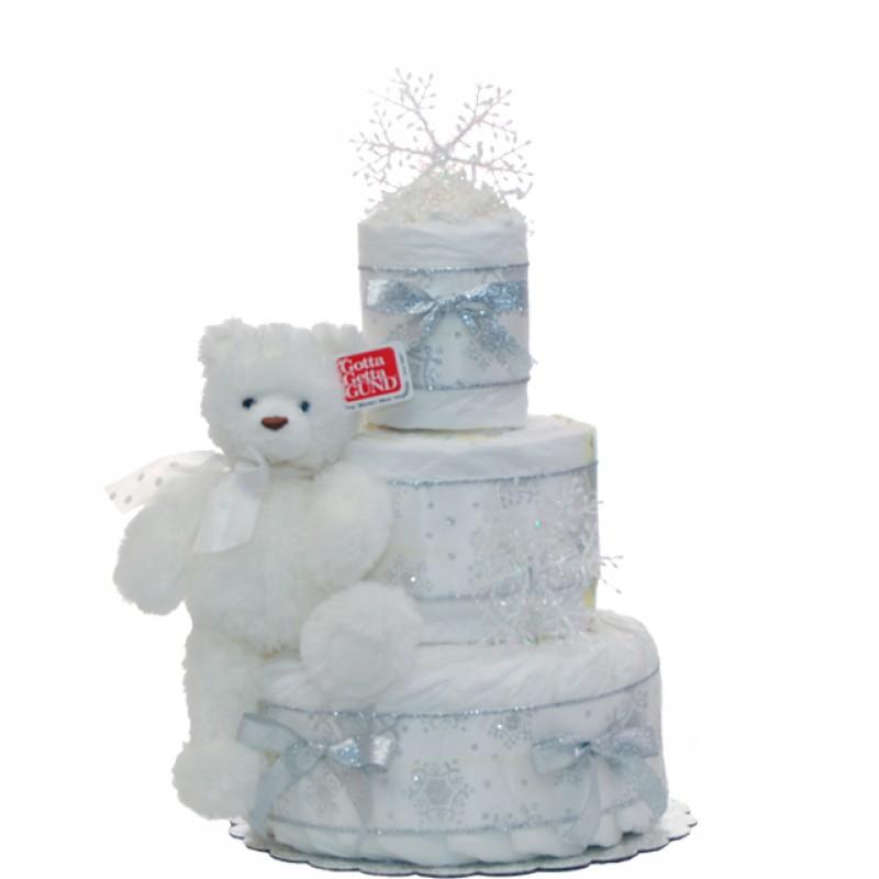 Holiday Snowfake Diaper Cake