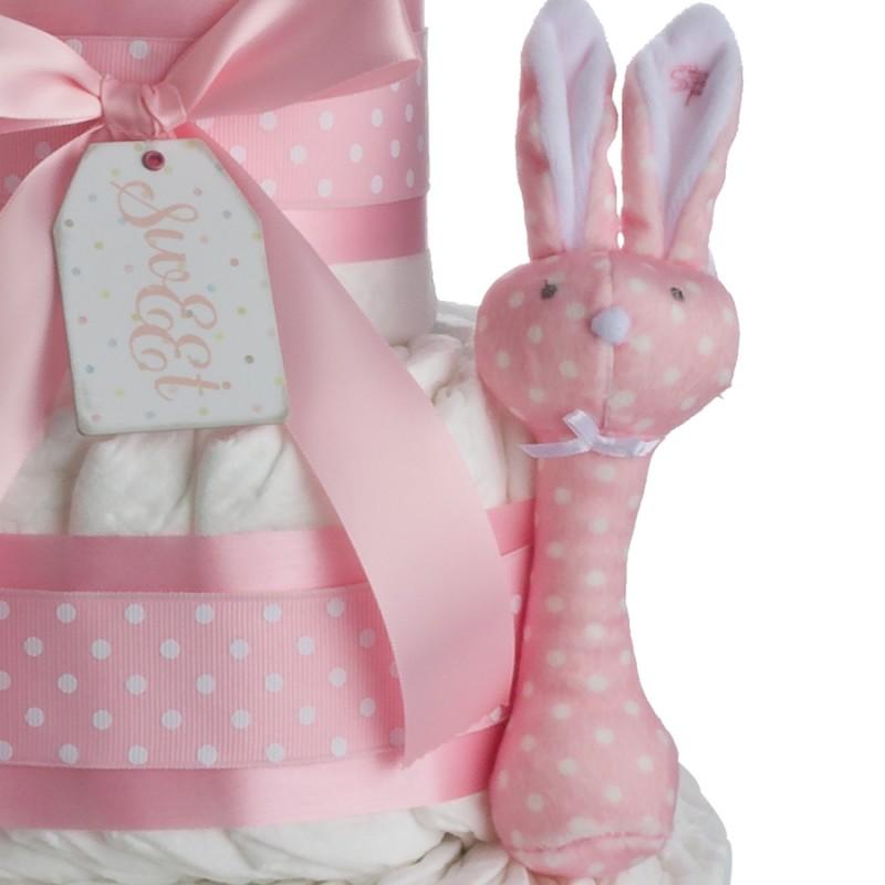 Stephen Baby Pink Bunny Rattle