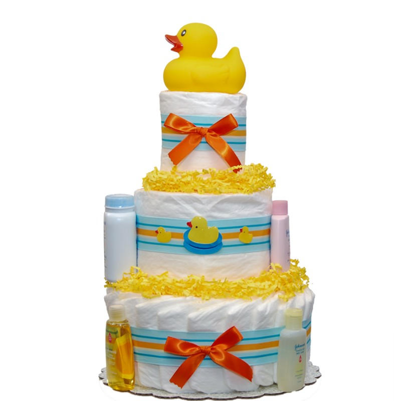 Striped Duck 3 Tier Diaper Cake