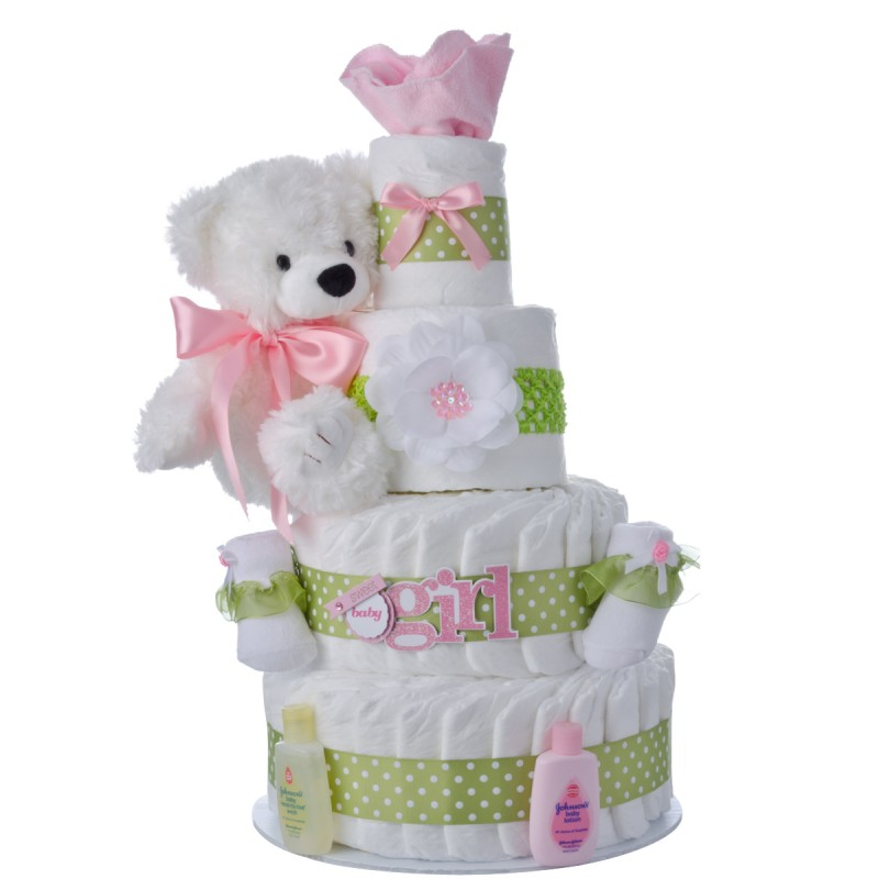 Sweet Baby Girl Diaper Cake by Lil' Baby Cakes