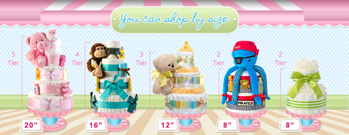 shop diaper cakes by size