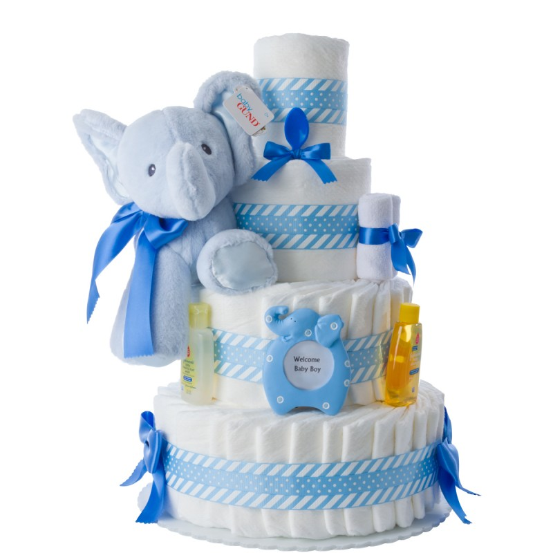Blue Elephant Diaper Cake For Boys