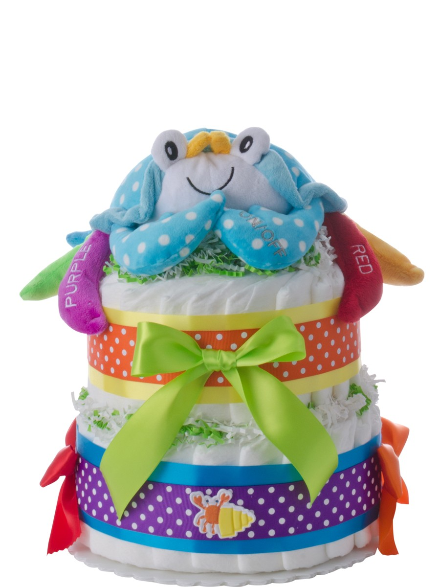 Unique handcrafted diaper cakes by lil baby cakes colorful crab 2 tier diaper cake negle Images