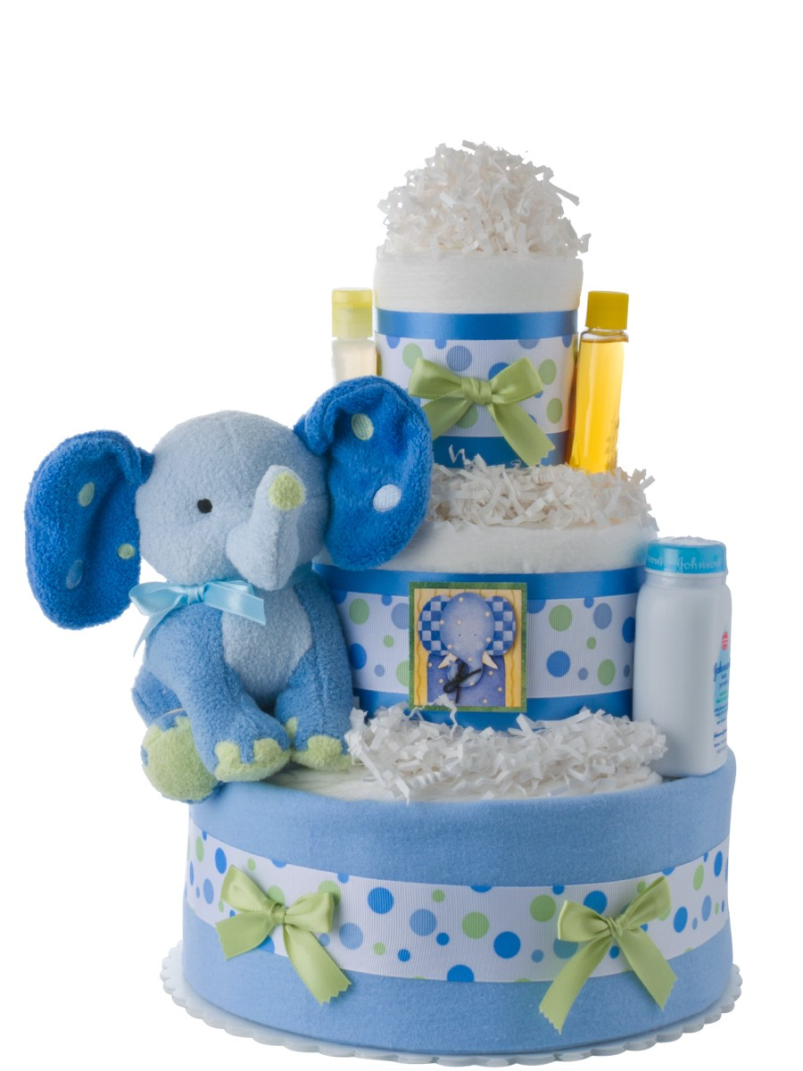 Lil Blue Elephant Diaper Cake Baby Shower Diaper Cakes