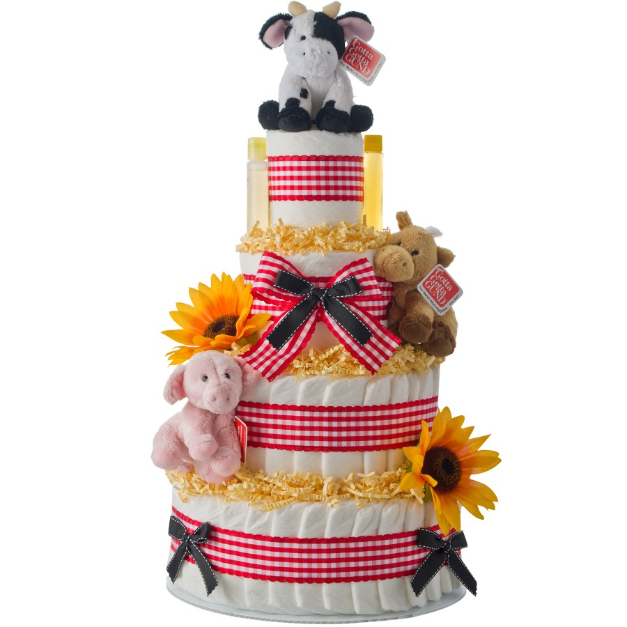 Barnyard Farm Theme 4 Tier Diaper Cake Baby Shower