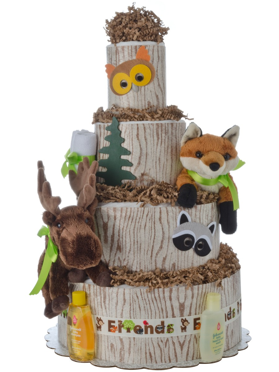 Forest Friends 4 Tier Diaper Cake Baby Shower Diaper