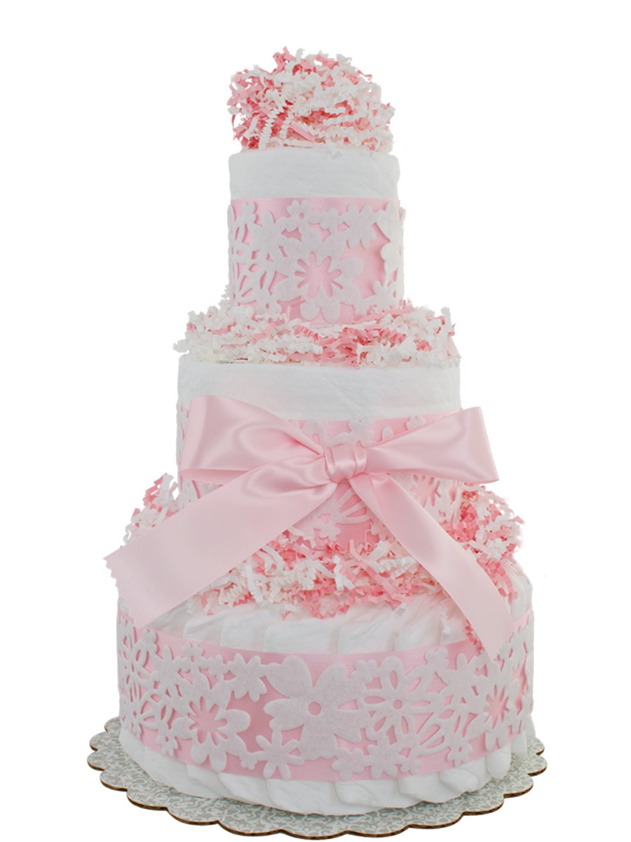 Pink Lace 3 Tier Diaper Cakes Baby Shower Diaper Cakes