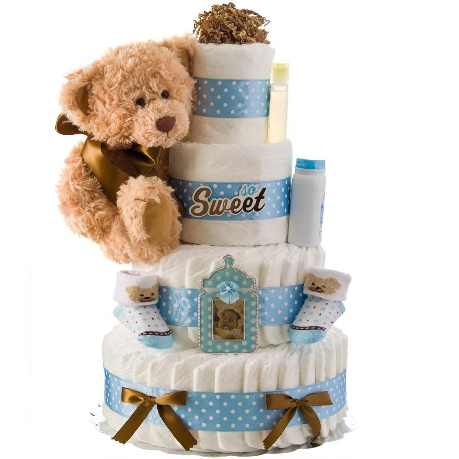 So Sweet Boy 4 Tier Diaper Cake Baby Shower Diaper Cakes