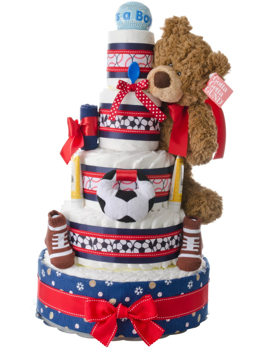 Sports Themed 5 Tier Diaper Cake