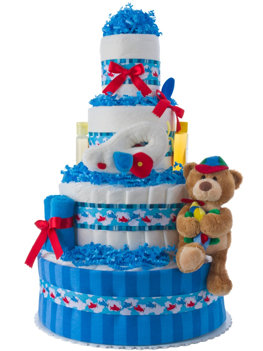 Up Up And Away Airplane For Boys Diaper Cake Unique