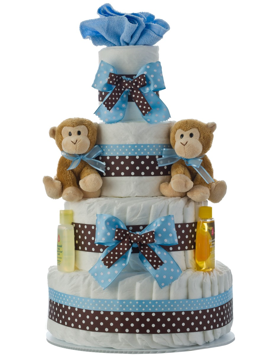 Twins Boys 4 Tier Diaper Cake Baby Shower Diaper Cakes