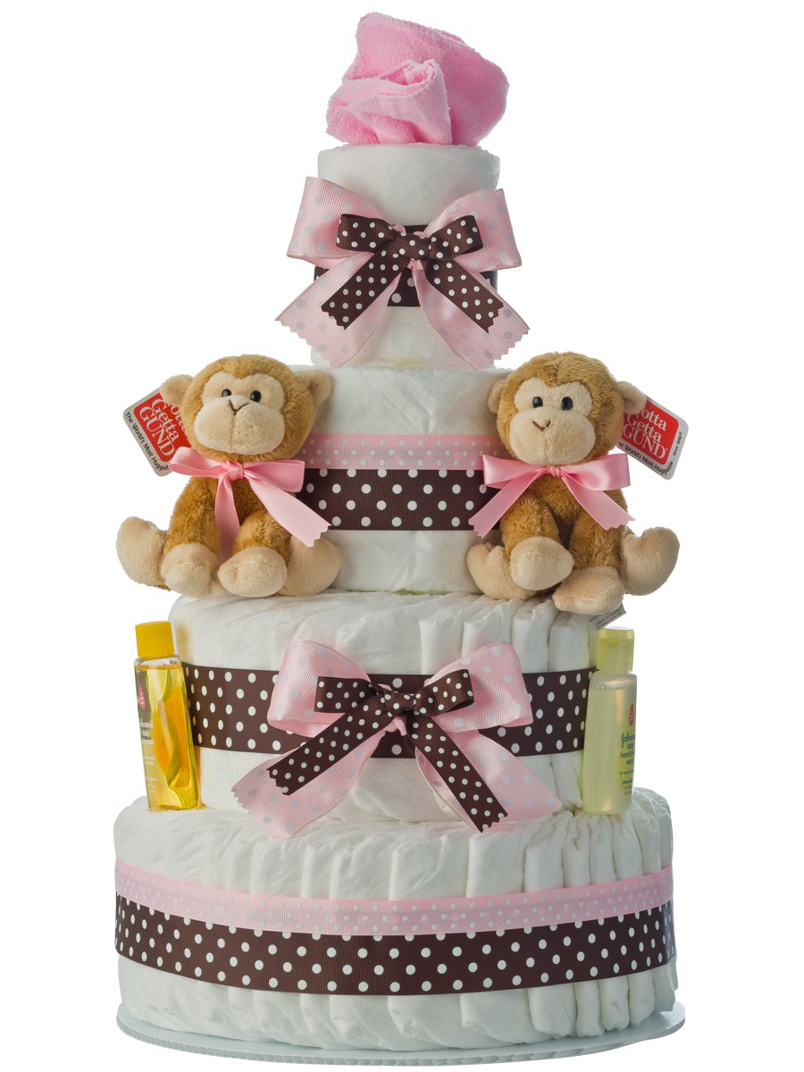 Twin Girls 4 Tier Diaper Cake Baby Shower Diaper Cakes
