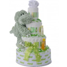 Alan the Alligator Diaper Cake for Boys by Lil' Baby Cakes
