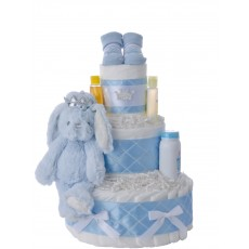 Blue Bunny Prince Diaper Cake for Boys | Lil' Baby Cakes