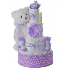 Elegant Bear Baby Diaper Cake for Girls by Lil' Baby Cakes