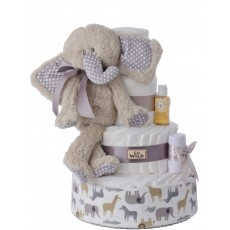 Go Wild Baby Elephant Neutral Diaper Cake | Lil' Baby Cakes