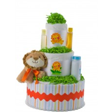 Leo Lion Neutral Diaper Cake by Lil' Baby Cakes