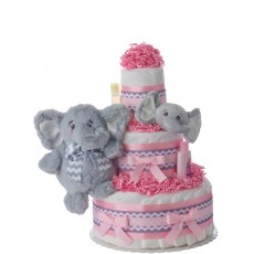Lil' Pink Elephant Diaper Cake for Girls