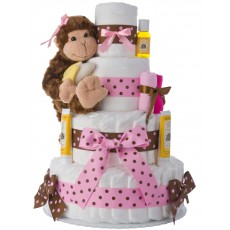 Our Lil' Monkey 4 Tier Diaper Cake Pink