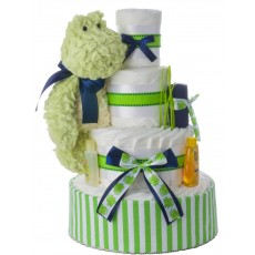 Mellow Yellow Frog Neutral Diaper Cake by Lil' Baby Cakes