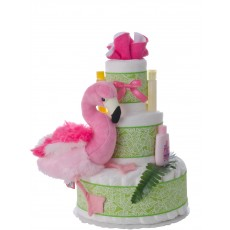 Pink Flamingo Pampers Diaper Cake for Girls
