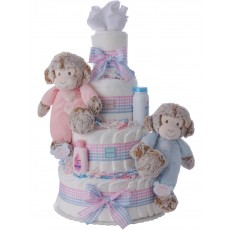 Sweet and Precious Twins Diaper Cake by Lil' Baby Cakes