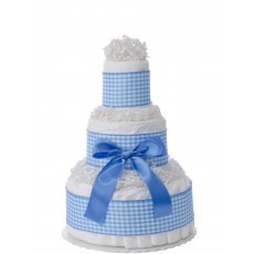 Sweet Blue Gingham 3 Tier Diaper Cake