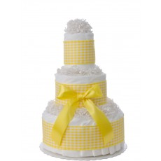 Sweet Yellow Gingham 3 Tier Diaper Cake