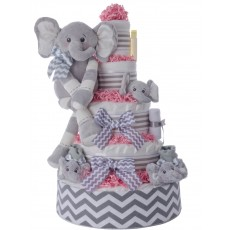 Ultimate Elephant Pampers Cake 5 Tier Pink