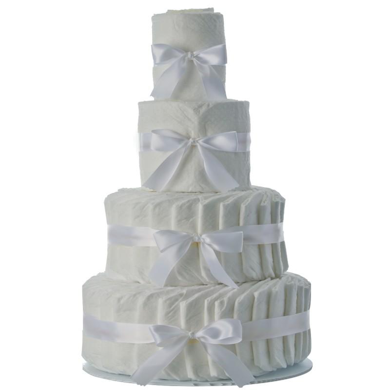 4 Tier Plain Diaper Cake