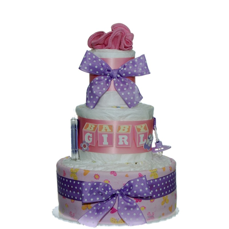 Baby Girl 3 Tier Diaper Cake