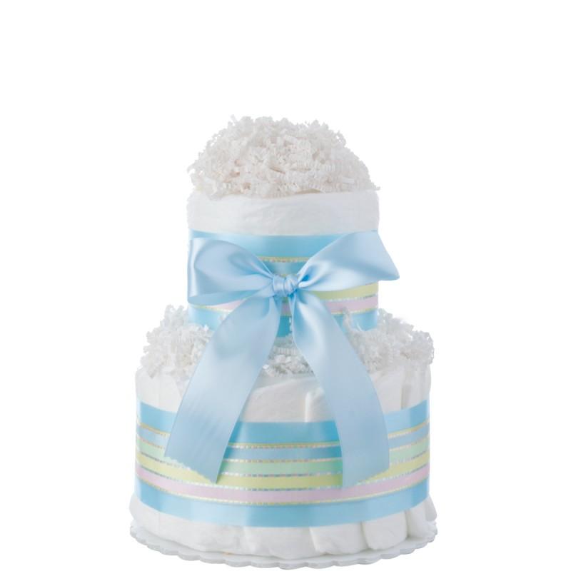 Blue Two Tier Mini Boys Diaper Cake