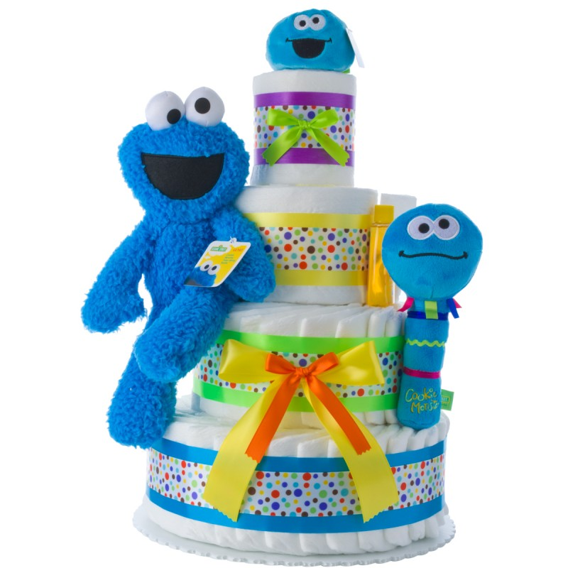 Cookie Monster Baby Diaper Cake