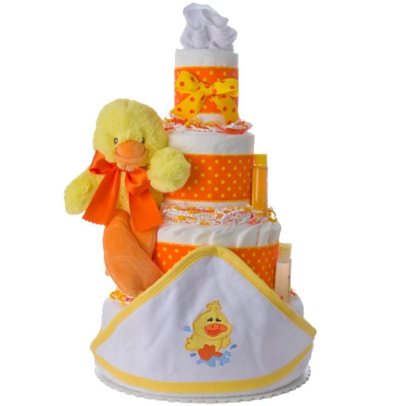 4 Tier Newborn Duck Towel Diaper Cake