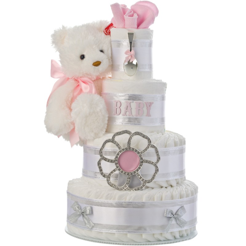 Elegant Girl 4 Tier Diaper Cake