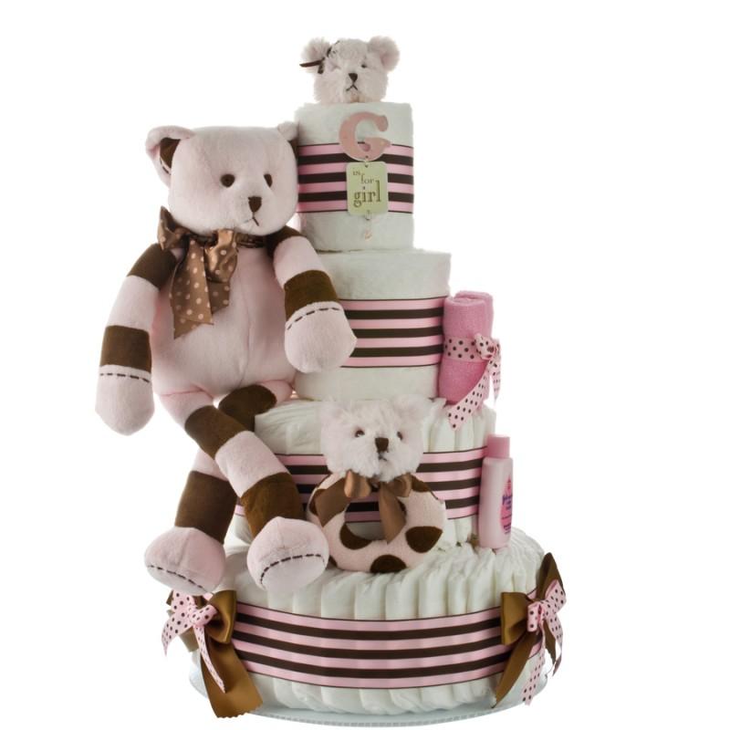 G is for Girl Pun Brown Bear Diaper Cake
