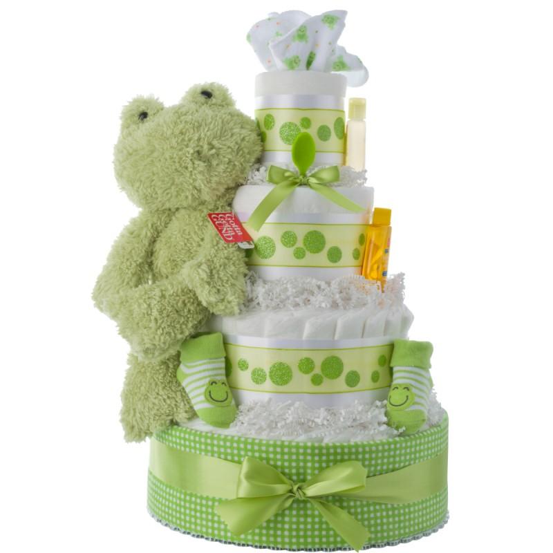 Fuzzy Frog Baby Diaper Cake