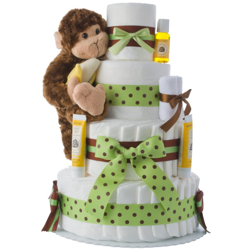 Our Lil' Monkey 4 Tier Diaper Cake Green